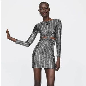 Zara Silver Sequined Long Sleeve Mini Dress